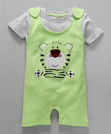 Babyhug Dungaree With Half Sleeves T-Shirt Tiger Design - Green