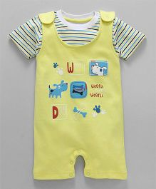 Babyhug Dungaree With Half Sleeves T-Shirt Puppy Design - Light Yellow