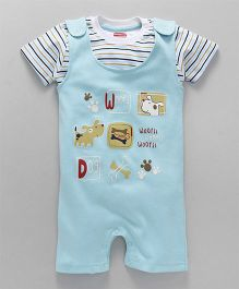 Babyhug Dungaree With Half Sleeves T-Shirt Puppy Design - Light Blue