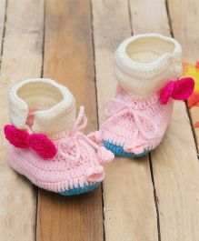 D'chica Pure Wool Two Bows Booties - Pink