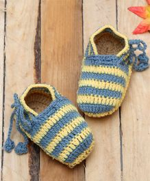 D'chica Pure Wool Loafer Shaped Booties - Blue & Yellow