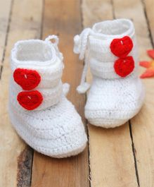 D'chica Pure Wool Chic Booties - White