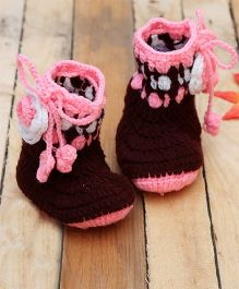 D'chica Pure Wool Flower Booties - Brown