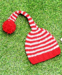 D'chica Pure Wool Pom Pom Cap - Red & White
