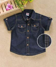 Babyhug Half Sleeves Double Stitch Denim Shirt - Dark Blue