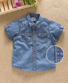 Babyhug Half Sleeves Double Stitch Denim Shirt - Blue