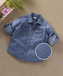 Babyhug Full Sleeves Solid Denim Shirt With Pockets - Blue