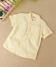 Babyhug Half Sleeves Mandarin Collared Shirt - Yellow