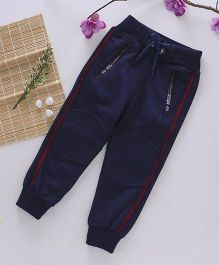 Little Kangaroos Full Length Track Pant Front Zipper Pockets - Navy Blue