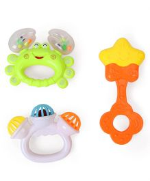 Smiles Creation Rattle Set Pack Of 3 - Green Orange White