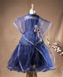 Enfance Cape Style Party Wear Gown - Navy