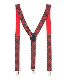 Little Hip Boitique Check Suspenders - Red