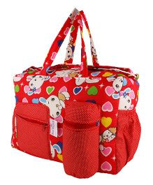 MomToBe Infant Diaper & Nappy Changing Bag Kitty Print - Red
