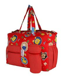 MomToBe Infant Diaper & Nappy Changing Bag Animal Print - Red