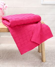 Babyhug Premium Cotton Knitted Blanket - Pink