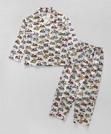 Fido Full Sleeves Night Suit Scooter Print - Off White