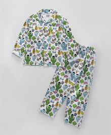 Fido Full Sleeves Night Suit Multi Print - White