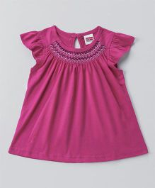Babyhug Flutter Sleeves Smocked Neckline Top - Dark Pink