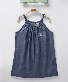 Babyhug Singlet Solid Top Butterfly Embroidery - Blue