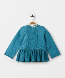 Hugsntugs Solid Top With Laces - Teal Blue