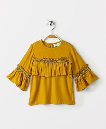 Hugsntugs Bell Sleeve Top With Lace In Front - Mustard Yellow
