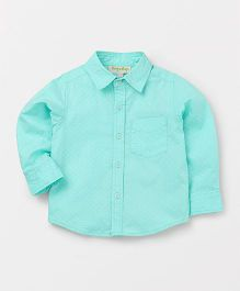Hugsntugs Dot Print Full Sleeves Shirt - Turk Blue