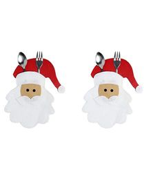 Li'll Pumpkins Santa Cutlery Pocket - White