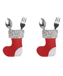 Li'll Pumpkins Socks Cutlery Pocket - Red
