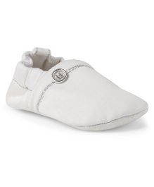 Ivee Stylish Soft Sole Anti Skid Booties - White & Silver
