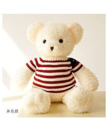 Skyloft Teddy Bear Soft Toy With Stripes Sweater Off White - Height 40 cm