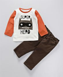 Babyhug Full Sleeves T-Shirt With Pant Super Hero Print - Orange Brown