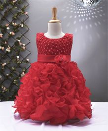 Party Princess Party Wear Dress With Flowers - Red