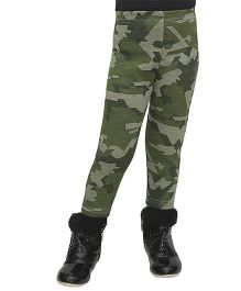 D'chica Chic Camouflage Winter Leggings - Green
