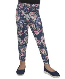 D'chica Soft & Stylish Floral Leggings - Blue