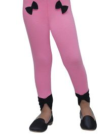 D'chica Stylish Bow Leggings - Pink & Black