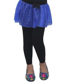 D'chica Party Wear Frill Leggings - Black & Blue