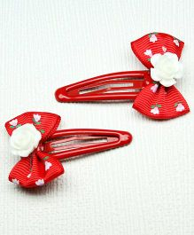 Asthetika Floral Mini Bows Hair Clips Set Of 2 - Red