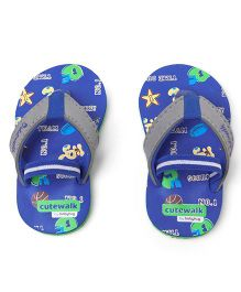 Cute Walk by Babyhug Flip Flops With Back Strap - Blue Grey