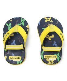 Cute Walk by Babyhug Flip Flops Airplane Print - Navy