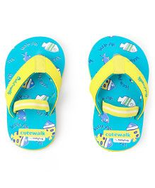 Cute Walk by Babyhug Flip Flops With Back Strap Little Fish Print - Sky Blue