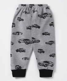 Pink Rabbit Full Length Fleece Bottom Allover Car Print - Melange Grey
