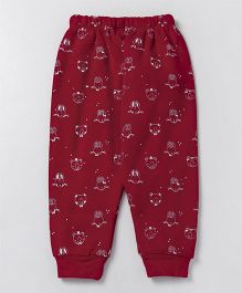 Pink Rabbit Full Length Thermal Bottom Animal Print - Red