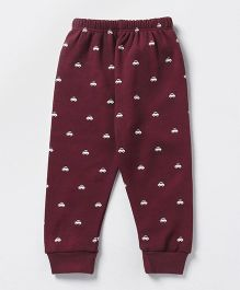 Pink Rabbit Full Length Thermal Bottom Car Print - Maroon