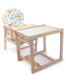 Wooden High Chair With Cushion Animal Print - White & Brown