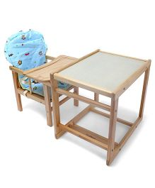 Wooden High Chair With Cushion - White & Brown