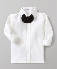 Kidsclan Full Sleeves Party Wear Shirt With Detachable Bow - White
