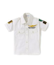 Kidsclan Half Sleeves Solid Shirt Military Theme - White