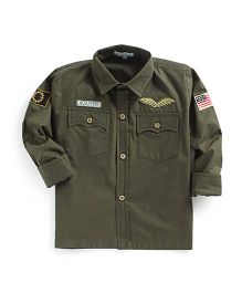 Kidsclan Full Sleeves Theme Party Shirt - Olive Green