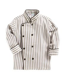 Kidsclan Full Sleeves Chef Theme Shirt Stripes Print - Grey & White