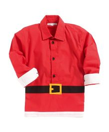 Kidsclan Full Length Santa Claus Theme Shirt - Red